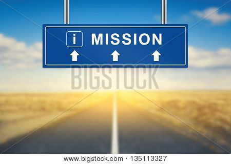 mission words on blue road sign with blurred background