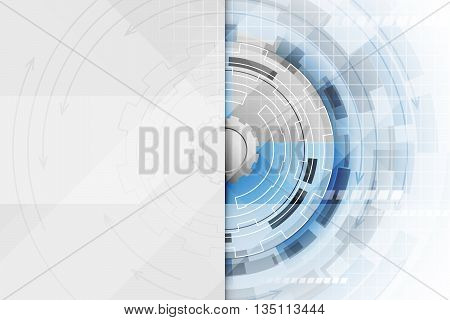 Technological Abstract Vector Illustration With A Gear Wheel In The Middle.