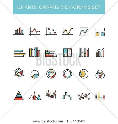 Diagram and graphs color line vector icons. Graph and chart, business diagram, information diagram, presentation graph, infographic statistic, icon diagram graphic, vector illustration