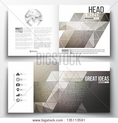 Set of annual report business templates for brochure, magazine, flyer or booklet. Microchip background, electrical circuits, science design vector template.