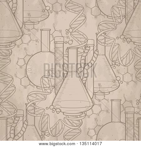 Genetic research pattern. Graphic test tube, DNA sequences and chemical formulas. Vector medical seamless pattern