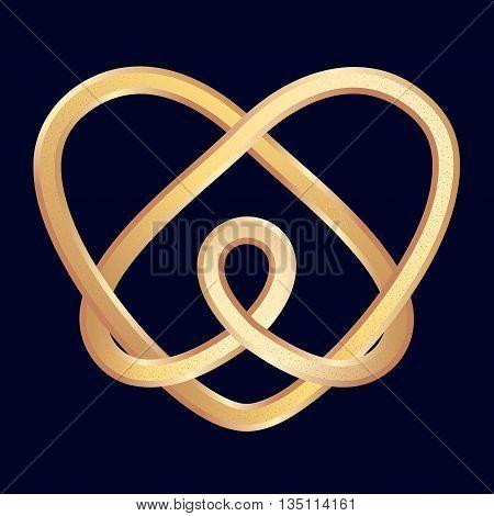 Golden celtic heart on dark blue background