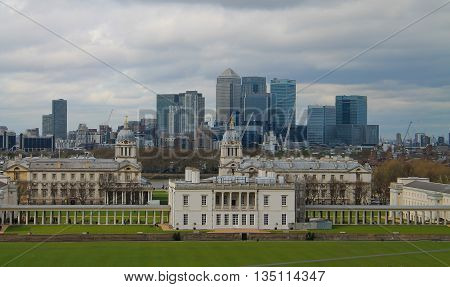 View of Canary Wharf and Greenwich University from Greenwich hill