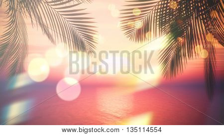 3D render of view of a sunset ocean through palm tree fronds with vintage effect