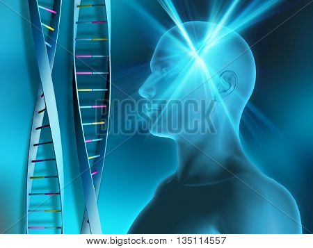 DNA strands on abstract background with male head