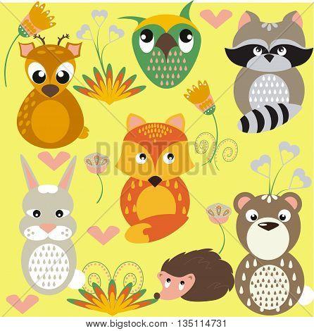 Forest animals. Deer, raccoon, fox, bear, rabbit, owl, hedgehog. Animals on the decorative background. Decorative flowers