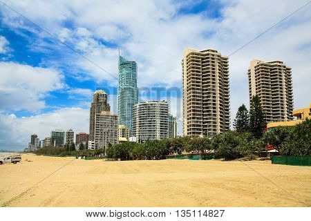 Surfers Paradise Beach and Hotels on the Gold Coast, Australia