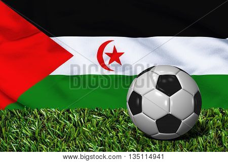 Soccer Ball On Grass With Western Sahara Flag Background, 3D Rendering