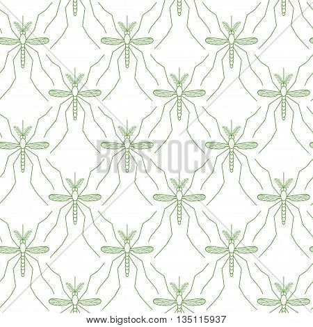 Seamless pattern made of mosquitos on white background