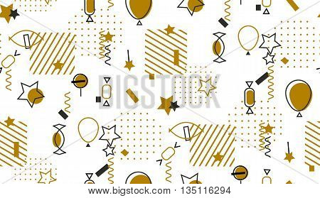 Geometric sweet seamless pattern Memphis style. Abstract mosaic gold vector pattern for holiday feast or new year wrapping.