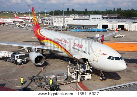 BERLIN - JUN 1: Airbus A330 from Hainan Airlines at the gate of Berlin-Tegel International Airport