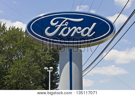 Indianapolis - Circa June 2016: A Local Ford Car and Truck Dealership. Ford is an American Automaker Headquartered in Michigan