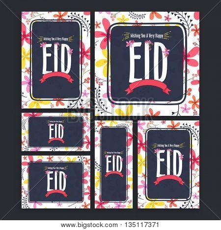 Creative  Social Media Ads, Header, Banners, Post with colourful flowers for Muslim Community Festival, Eid Mubarak Celebration.