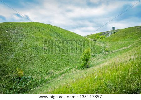 Green grassy hills on a cloudy day. No people