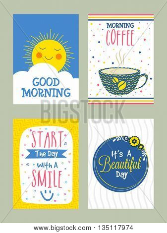 Good Morning Greeting Card or Invitation Card set with doodle elements, Creative hand drawn cards with different typographic collection.