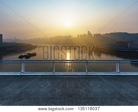view of chongqing cityscape from bridge
