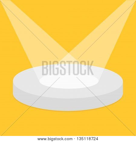 Empty pedistal for display. Round stage podium illuminated by spotlights. 3d realistic platform for design. Isolated. Yellow background. Template. Flat design. Vector illustration