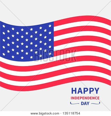 Waving American flag. Happy independence day United states of America. 4th of July. Isolated. Whte background.