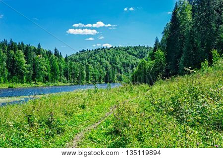 River flowing among the hills in woodland. No people
