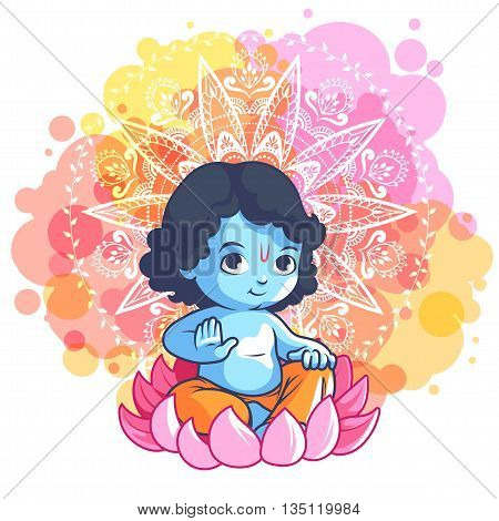 Little Cartoon Krishna On The Lotus.