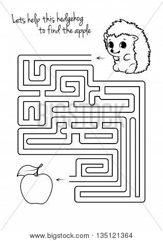 Maze game for kids with hedgehog and apple. Let's help this hedgehog to find the apple. Vector template page with game in black and white style.