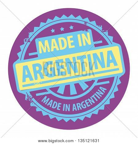 Abstract grunge rubber stamp with the text Made in Argentina written inside the stamp, vector illustration