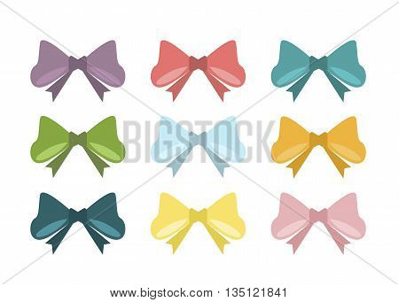 Set of vintage bows. Vector illustration bows. Different colors bows holiday celebration element. Decorate single accessory romance bows. Happy birthday present decoration ribbon decor.