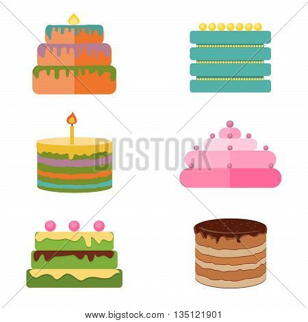 Set of colorful tasty pieces cakes, pies, and other bakery desserts icons. Chocolate cakes and sweet cakes dessert. Birthday bakery delicious and tasty decorations cakes icons. Flat cakes.