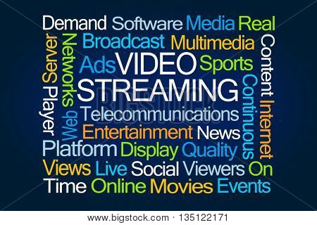 Video Streaming Word Cloud on Blue Background