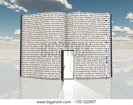 Book with open door 3D Render