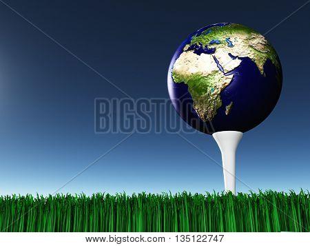 Africa on golf tee 3D Render