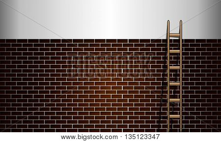 Staircase and brick wall, vector art illustration.