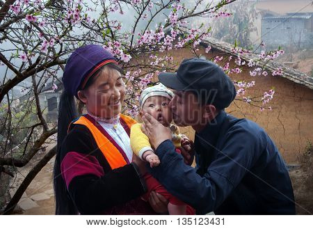 HA GIANG, VIETNAM, February 18, 2016 Family, Hmong, high mountains, Ha Giang, Vietnam. Happily, with small children