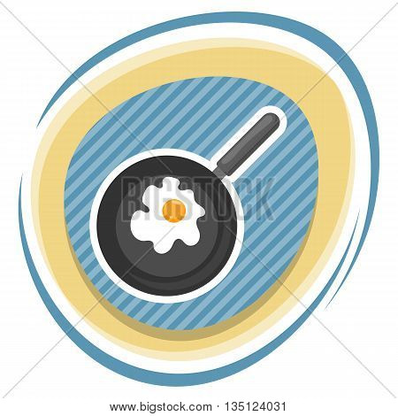 Vector Illustration Of Omelette. Flat Designed Style Icon.