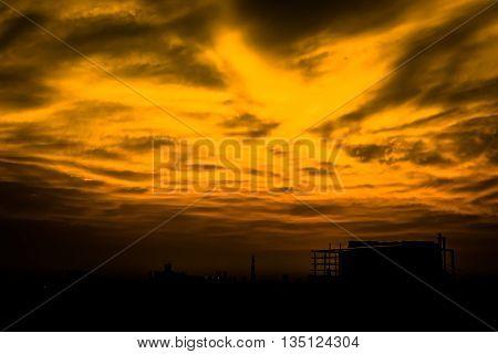 Dark Golden Color sky at sunset after rain