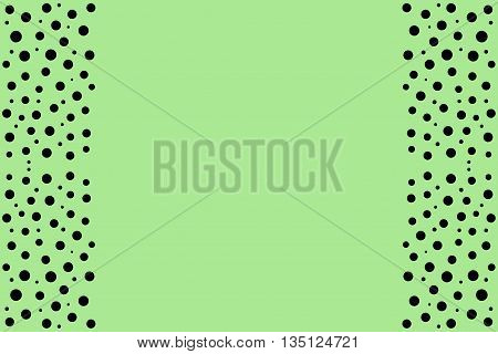 Black points as side frame on a green background