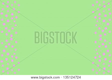 Pink points as side frame on a green background