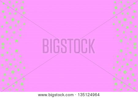 Green points as side frame on a pink background