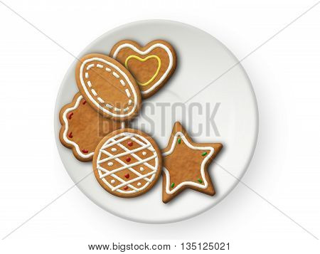 Cookies assorti on a tea plate on white background