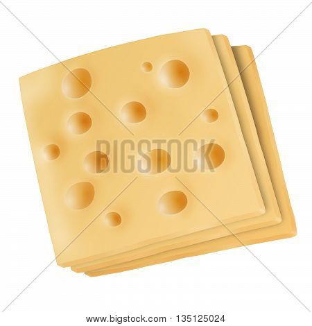Isolated emmental cheese slices on white background