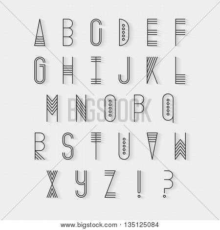 Original ethnic latin alphabet set. Linear uppercase modern font, typeface, english alphabet with long shadow effect. Tribal upper case and question and exclamation marks. Modern thin line vector