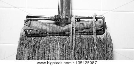 Mop up rust and dirt.(black and white image)