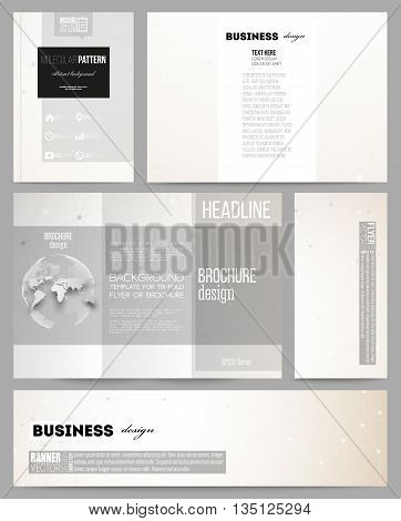 Set of business templates for presentation, brochure, flyer or booklet. Abstract polygonal low poly backdrop with connecting dots and lines, connection structure. Vector science background.
