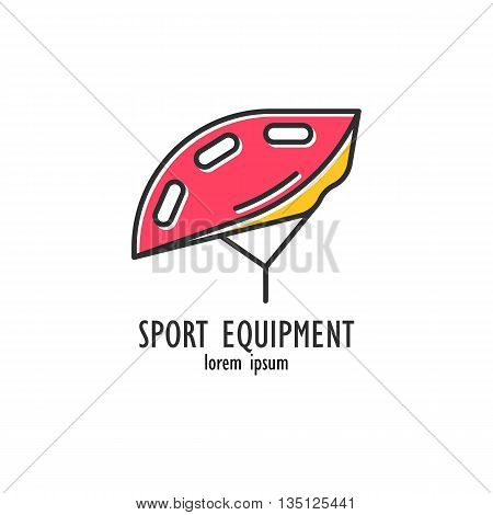 Modern Illustration of bicycle helmet. Colorful hard hat isolated on a white background. For use as design element or logo for Bike Shop. Sport Equipment made in trendy thin line style vector.