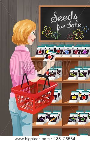 A vector illustration of woman choosing the seed at seed store for gardener