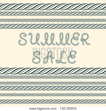 Summer sale inscription and decorative rope borders