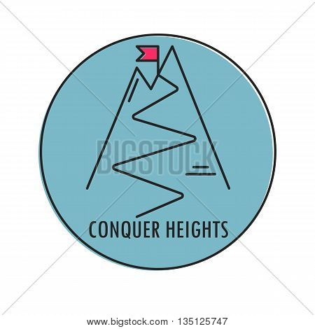 Modern Illustration of mountain with red flag on a peak. Conquer Heights. Icon in a blue circle isolated on a white background. For use as design element or logo. Made in trendy thin line style vector