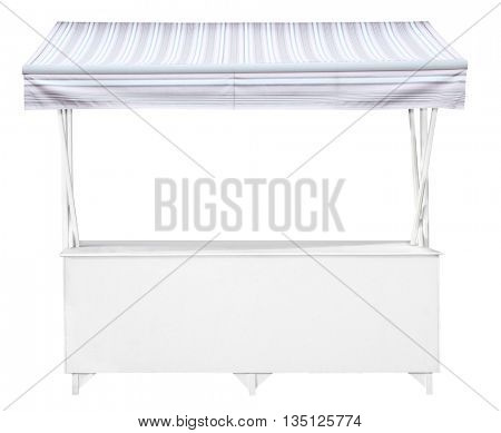 White market stall with pale blue grey striped awning