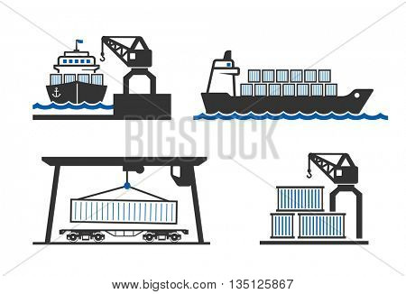 Container logistics icons set