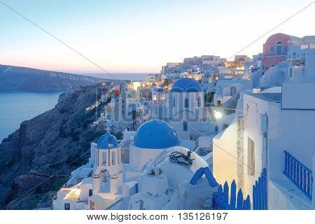 Beautiful night view of the village Oia, Santorini Island, Greece.